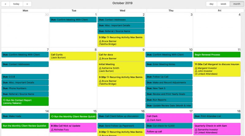 Redtail CRM calendar view screenshot