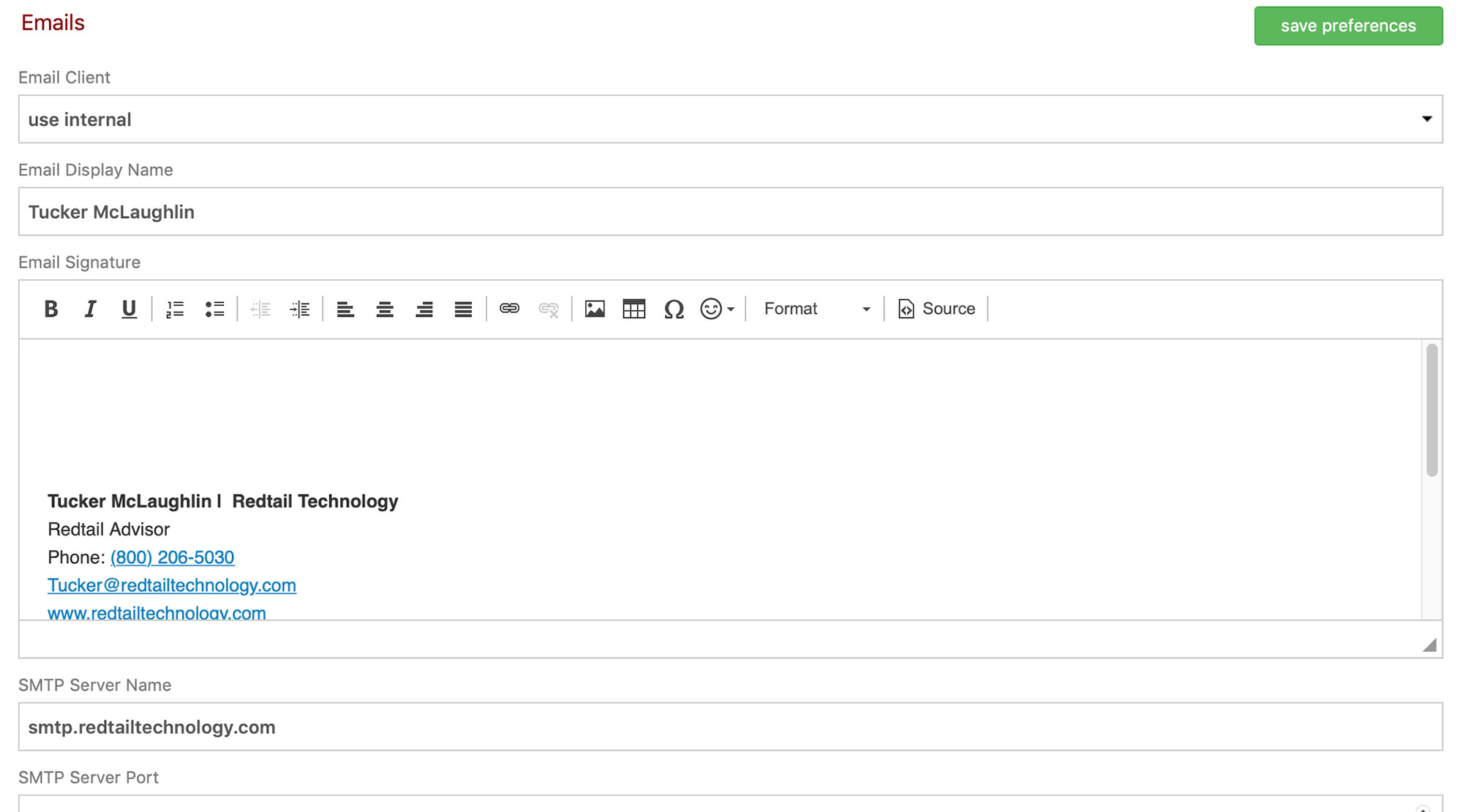 Redtail email settings screenshot